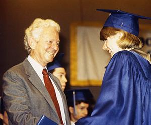 Leon Lederman with IMSA Graduate